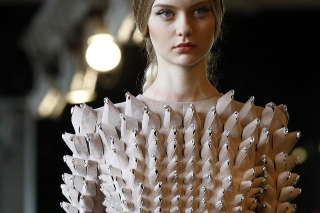 A model wears a creation for Stephane Rolland's Spring-Summer 2016 Haute Couture fashion collection presented in Paris, Tuesday, January 26, 2016. (Photo by Francois Mori/AP Photo)