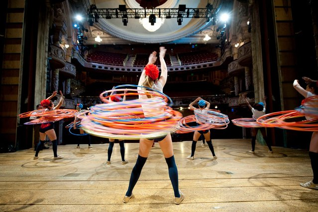 Guinness World Records of the most hula hoops spun simultaneously by a team at 264 achieved by Marawa the Amazing and her Majorettes at the Shaftesbury Theatre, London, during the ninth annual Guinness World Records Day, the international day of record breaking. (Photo by PA Wire)