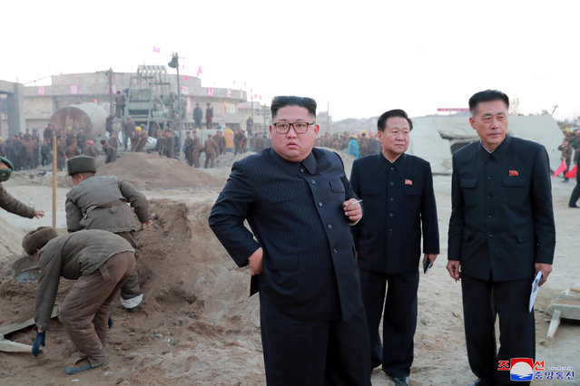 North Korean leader Kim Jong Un inspects the constructions site of the Wonsan-Karma coastal tourism district, in this undated photo released on October 31, 2018 by North Korea's Korean Central News Agency (KCNA). (Photo by KCNA via Reuters)
