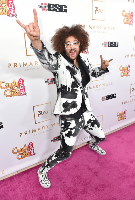 It's game on for Redfoo as he arrives at the Candy Crush Jelly Saga – Primary Wave Pre-Grammy Party at The London Hotel on Sunday, February 14, 2016, in Los Angeles. (Photo by Jordan Strauss/Invision for King Digital/AP Images)