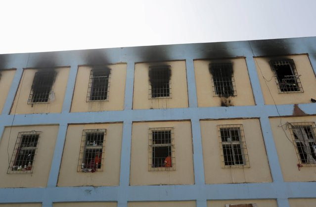 Windows burned in a riot are seen in the Topo Chico prison during a media tour in Monterrey, Mexico, February 17, 2016. (Photo by Daniel Becerril/Reuters)