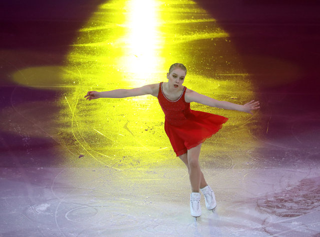 Finland's Viveca Lindfors performs in the gala exhibition at the 2019 ISU European Skating Championships at Minsk Arena in Minsk, Belarus on January 27, 2019. (Photo by Natalia Fedosenko/TASS)