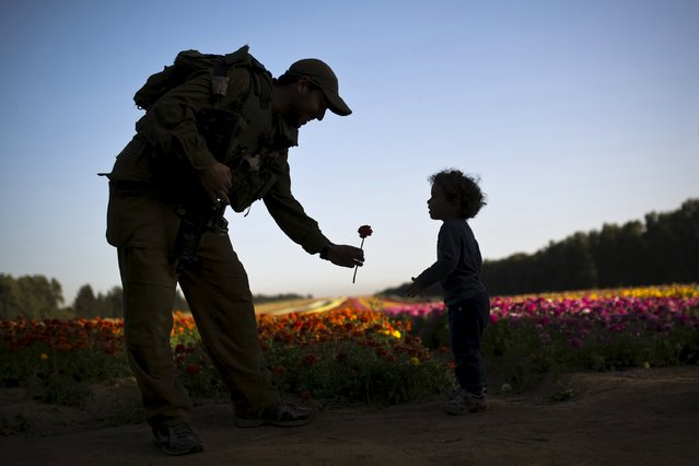 An Israeli soldier hands a buttercup flower to a child in a field near Kibbutz Nir Yitzhak in southern Israel, just outside the Gaza Strip April 19, 2015. (Photo by Amir Cohen/Reuters)