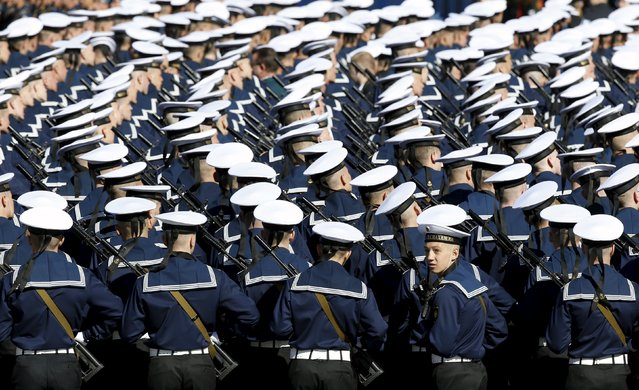 Russian navy sailors take part in a rehearsal for the Victory Day parade in Red Square in central Moscow, Russia, May 7, 2015. Russia will celebrate the 70th anniversary of the victory over Nazi Germany in World War Two on May 9. (Photo by Sergei Karpukhin/Reuters)