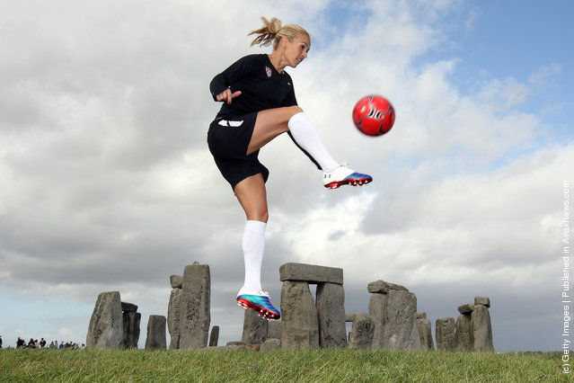 USA Olympic soccer player Heather Mitts shows off her her soccer skills during a photo shoot at Stonehenge