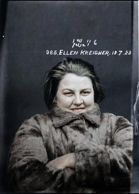 Ellen Kreigher,  who had just been arrested and charged with murder, 13 July 1923, Central Police Station, Sydney. (Photo by My Colorful Past/Mediadrumworld)