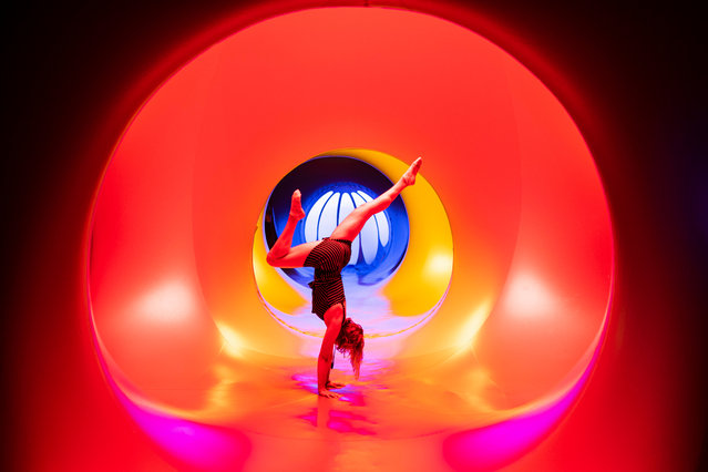 Visitor at the installation called Luminarium at the 27th Sziget (Island) Festival on Shipyard Island, Northern Budapest, Hungary, on the first day of the event, 07 August 2019. The festival is one of the biggest cultural events of Europe offering art exhibitions, theatrical and circus performances and above all music concerts in seven days. (Photo by Marton Monus/EPA/EFE)