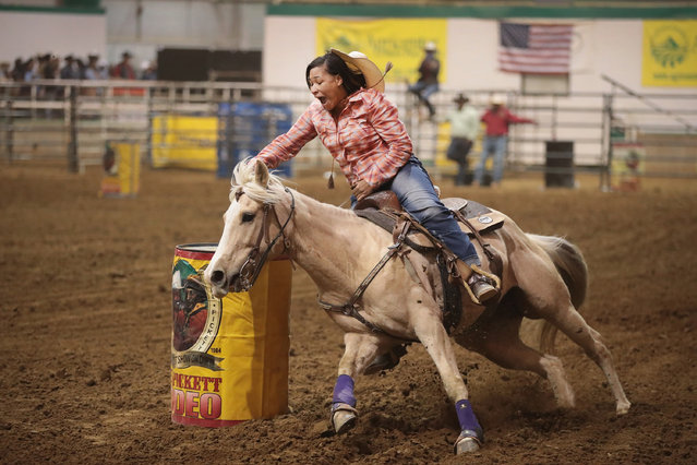 Danesha Henderson participates in the barrel race competition at the Bill Pickett Invitational Rodeo on April 1, 2017 in Memphis, Tennessee. (Photo by Scott Olson/Getty Images)