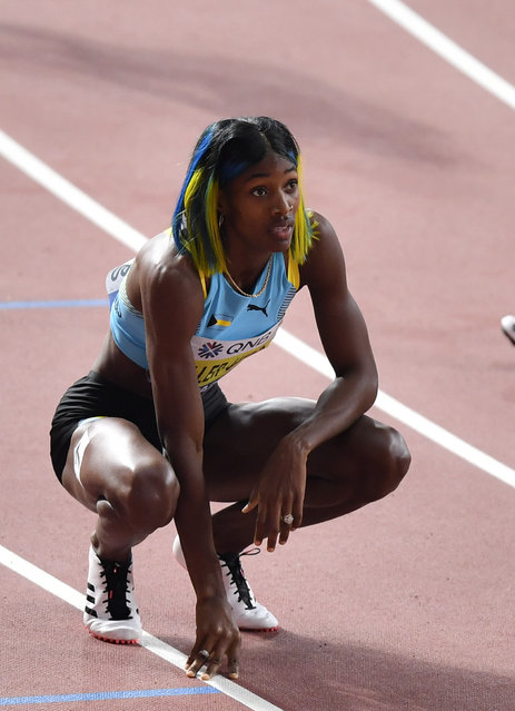 Shaunae Miller-Uibo, of Bahamas, looks at the scoreboard after winning silver in the women's 400 meter final at the World Athletics Championships in Doha, Qatar, Thursday, October 3, 2019. (Photo by Martin Meissner/AP Photo)