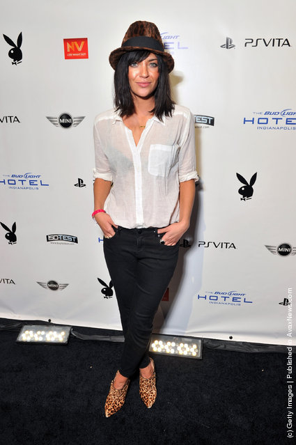 Actress Jessica Szohr attends the 2012 Playboy Party hosted by Bud Light Hotel at Bud Light Hotel