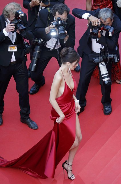 "Model Bella Hadid poses on the red carpet as she arrives for the screening of the film ""La fille inconnue"" (The Unknown Girl) in competition at the 69th Cannes Film Festival in Cannes, France, May 18, 2016. (Photo by Regis Duvignau/Reuters)"