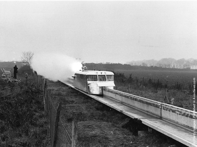 The French rocket-boosted hover train unit, known as the 'aerotrain monorail', which set a new world speed record in 1967