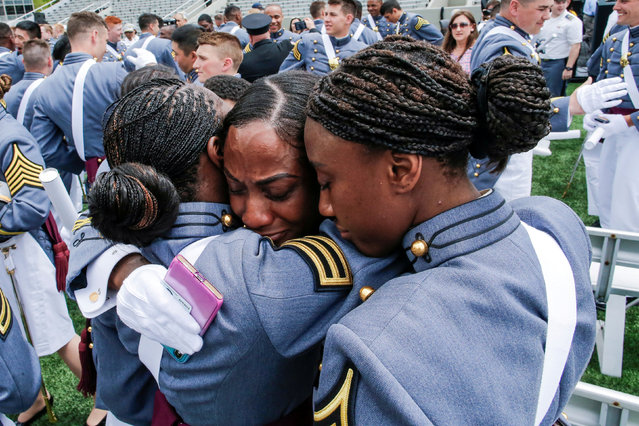 African American Women of the United States Military Academy celebrate at the conclusion of commencement ceremonies in West Point, New York, U.S., May 25, 2019. (Photo by Eduardo Munoz/Reuters)
