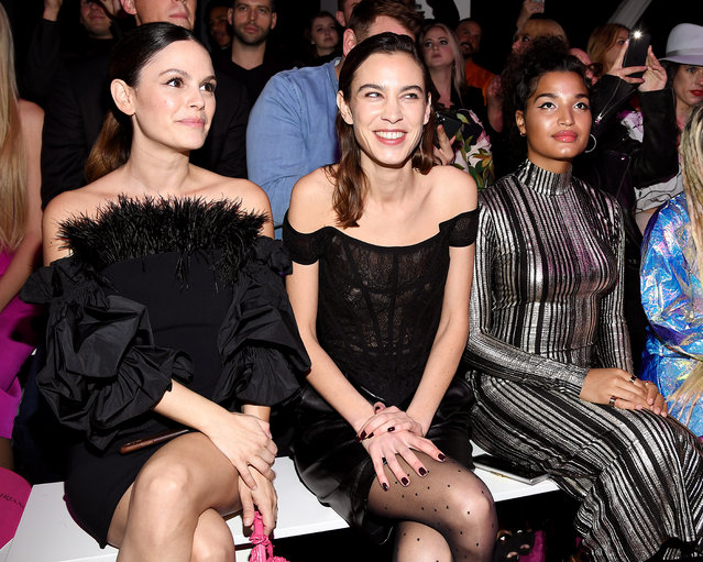 Rachel Bilson, Alexa Chung and Indya Moore attends the front row for Christian Siriano during New York Fashion Week: The Shows at Gallery I at Spring Studios on February 06, 2020 in New York City. (Photo by Dimitrios Kambouris/Getty Images for NYFW: The Shows)