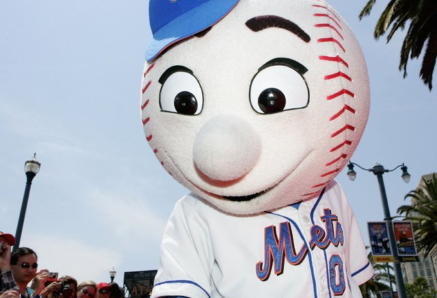 "The New York Mets mascot, ""Mr. Met"" arrives to the 78th Major League Baseball All-Star Game at AT&T Park on July 10, 2007 in San Francisco, California. (Photo by Justin Sullivan/Getty Images)"