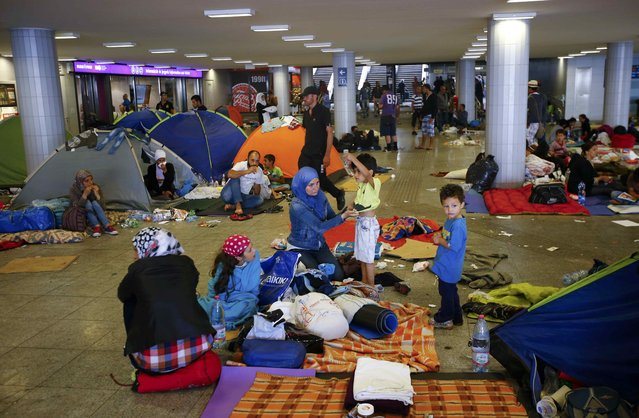 Migrants camp in an underground passage near the Keleti railway station in Budapest, Hungary, September 3, 2015. (Photo by Leonhard Foeger/Reuters)