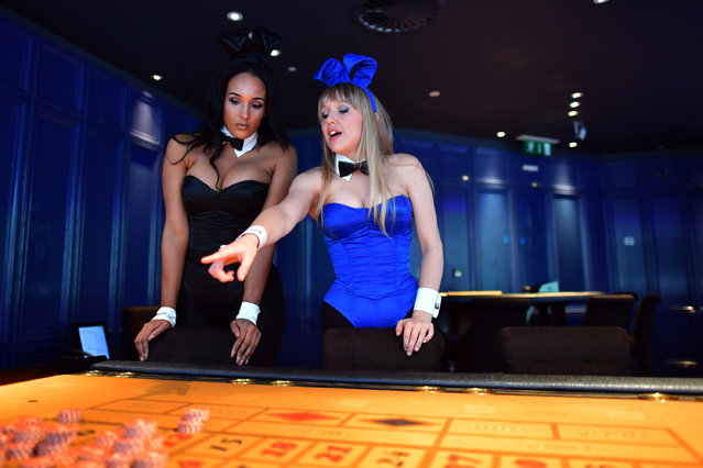 Playboy Bunnies practice their croupier skills before starting work at the Playboy Club on July 26, 2016 in London, England. (Photo by Carl Court/Getty Images)