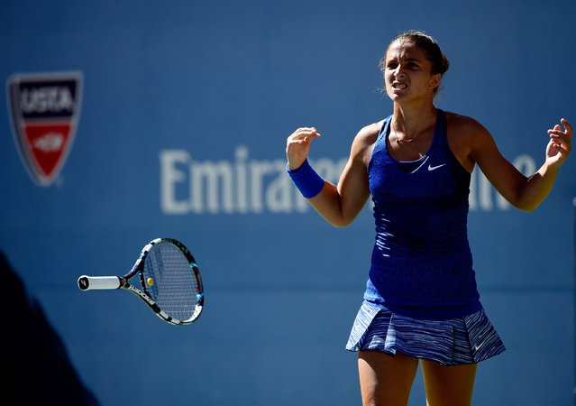 Sara Errani of Italy celebrates match point after defeating Venus Williams of the United States in their women's singles third round match on Day Five of the 2014 US Open at the USTA Billie Jean King National Tennis Center on August 29, 2014 in the Flushing neighborhood of the Queens borough of New York City. (Photo by Alex Goodlett/Getty Images)