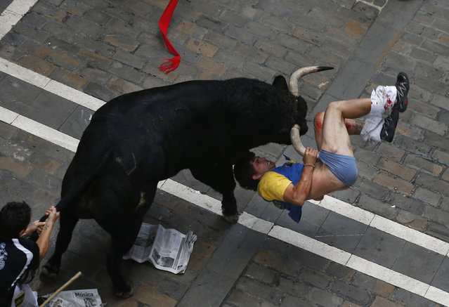 A runner is gored by an El Pilar fighting bull on Estafeta street during the sixth running of the bulls of the San Fermin festival in Pamplona, Spain, July 2013. The runner was gored three times. (Photo by Susana Vera/Reuters)