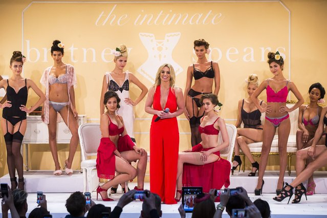 Singer Britney Spears stands on stage after presenting The Intimate Britney Spears Spring/Summer 2015 collection during New York Fashion Week September 9, 2014. (Photo by Lucas Jackson/Reuters)