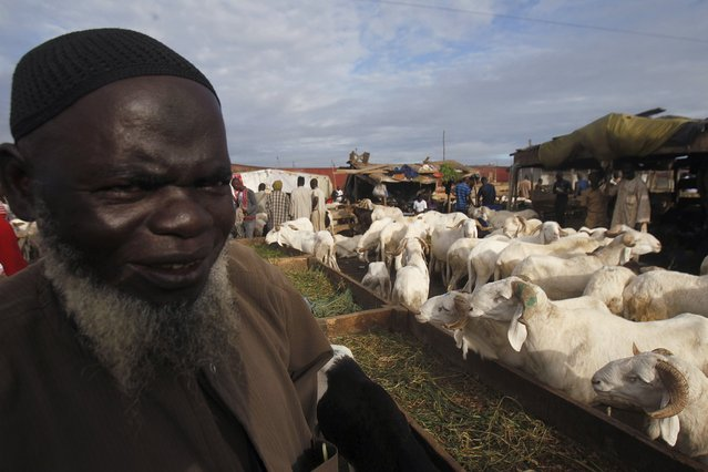 A sheep seller stands near his sheep at a sheep market two days ahead of Eid al-Adha, in Port Bouet, Abidjan, Ivory Coast September 22, 2015. (Photo by Luc Gnago/Reuters)