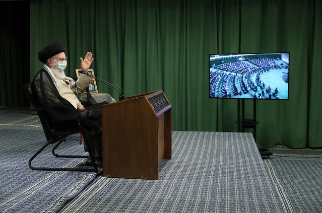 Iranian Supreme Leader Ayatollah Ali Khamenei, wearing a medical mask, attends the meeting of Iranian Parliament via video conference call in Tehran, Iran on July 12, 2020. (Photo by Iranian Leader Press Office/Handout/Anadolu Agency via Getty Images)