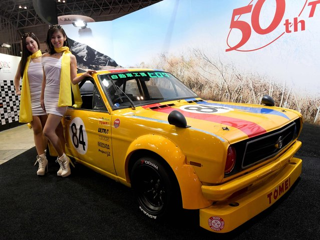 A mid-70s Tomei Nissan Sunny B210 touring car is seen on display at the Tomei Auto booth of the Tokyo Auto Salon at the Makuhari Messe in Chiba on January 12, 2018. (Photo by Toshifumi Kitamura/AFP Photo)