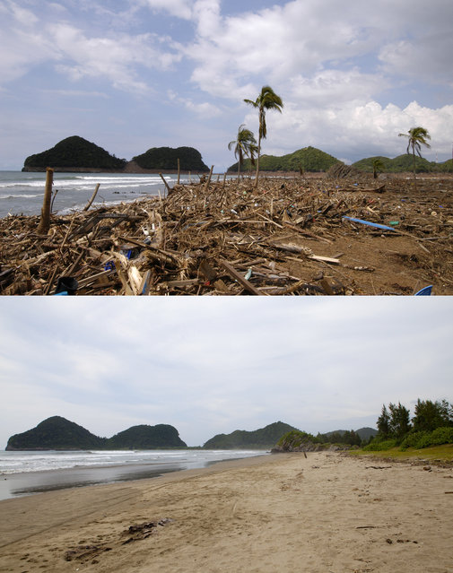 TOP IMAGE: A completely devastated village after the Tsunami in Lhok Sadey, 150 miles from southern Asia's massive earthquake's epicenter on Tuesday January 8, 2005 in Lhok Sadey, Indonesia. BOTTOM IMAGE: A mostly unused beach prior to the ten year anniversary of the 2004 earthquake and tsunami on December 14, 2014 in Lhok Saday, Indonesia. (Photo by Stephen Boitano/Barcroft Media)