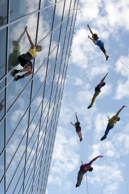 """BOUND(LESS)"". Project Bandaloop preforming live at the New World Center in Miami Beach. (Photo and caption by Thomas Cavanagh/National Geographic Traveler Photo Contest)"