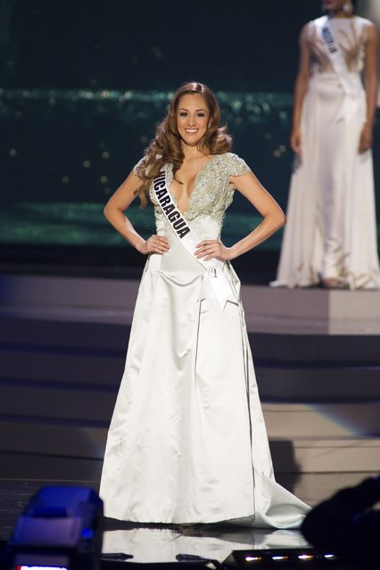 Marline Barberena, Miss Nicaragua 2014 competes on stage in her evening gown during the Miss Universe Preliminary Show in Miami, Florida in this January 21, 2015 handout photo. (Photo by Reuters/Miss Universe Organization)