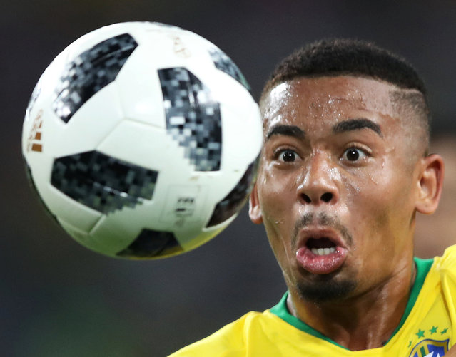 Brazil's Gabriel Jesus in action during the group E match between Serbia and Brazil, at the 2018 soccer World Cup in the Spartak Stadium in Moscow, Russia, Wednesday, June 27, 2018. (Photo by Carl Recine/Reuters)