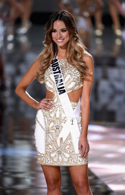 Top 15 contestant Miss Australia 2015, Monika Radulovic, walks onstage during the 2015 Miss Universe Pageant at The Axis at Planet Hollywood Resort & Casino on December 20, 2015 in Las Vegas, Nevada. (Photo by Ethan Miller/Getty Images)