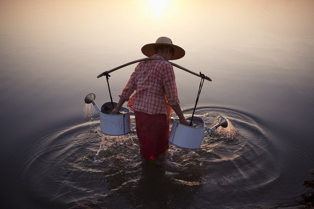 """Merit Winner: """"Lady in Water"""". A lady collects water in the river by a village in Bagan, Myanmar, 2013.  Location: Bagan, Myanmar. (Photo and caption by Marcelo Salvador/National Geographic Traveler Photo Contest)"""
