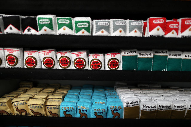 Cigarette packets made from felt in a art installation supermarket in which everything is made of felt, in Los Angeles, California on July 31, 2018. (Photo by Lucy Nicholson/Reuters)