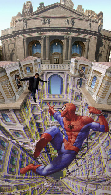 Spiderman Saves the Day is displayed in February 2011 at Universal Studios, Japan. This stereoscopic image of the famous Marvel comic character saves the guests from falling into the imaginary depth of a 3D pavement composition using Colorcode 3D glasses. A stunning new book takes readers into the world of master street artist Kurt Wenner. Bringing pavements around the world to life, Kurt, 52, uses a clever technique in his street drawings that make them look perfectly 3D. When viewed from the correct angle, street-goers standing on top of them look like they are floating in thin air and solid concrete appear as gaping chasms in a colourful illusion. Pioneer Kurt, from the USA, has been perfecting his unique art since 1982 when he began sketching on the streets of Rome. His wizardry with the world's streets has now been brought together in new book Asphalt Renaissance, by Sterling Innovation publishers, available now through Amazon. (Photo by Kurt Wenner/Barcroft Media/Getty Images)