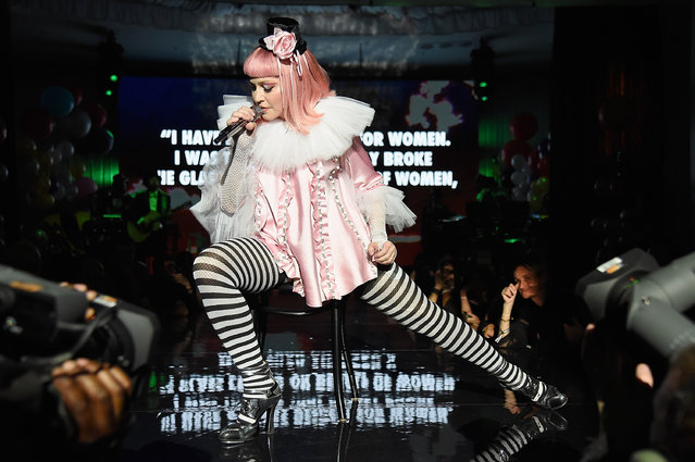 Madonna on stage during her Evening of Music, Art, Mischief and Performance to Benefit Raising Malawi at Faena Forum on December 3, 2016 in Miami Beach, Florida. (Photo by Kevin Mazur/Getty Images for Bulgari)