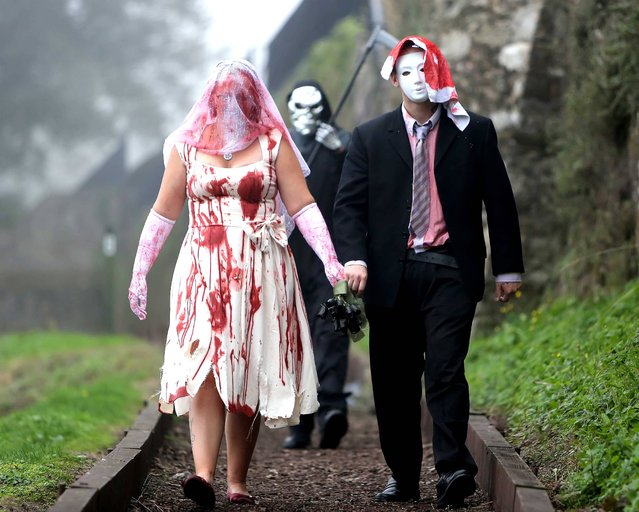 A Zombie bride and groom get ready for a Zombie Wedding during Youghaloween Spooktacular which will be held in Youghal between October 25th and 27th. (Photo by John Hennessy)