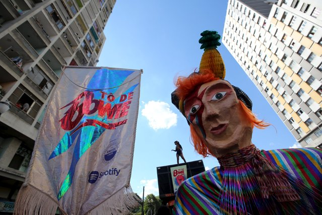 "A reveller parades during the annual block party known as ""To de Bowie"" (Meanwhile, I'm with David Bowie), in downtown Sao Paulo, Brazil February 9, 2016. (Photo by Paulo Whitaker/Reuters)"
