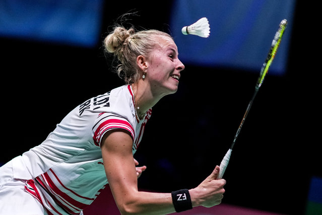 Mia Blichfeldt of Denmark competes in the Women's Single match against Putri Kusuma Wardani of Indonesia during day four of the TotalEnergies BWF Sudirman Cup at Energia Areena on September 29, 2021 in Vantaa, Finland. (Photo by Shi Tang/Getty Images)