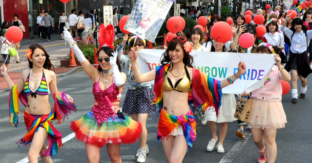 Tokyo Rainbow Pride 2015, at Yoyogi park-Shibuya,  on April 26, 2015. Some 3,000 lesbian, gay, bisexual and transgender people paraded through Tokyo's Shibuya district Sunday afternoon to demonstrate their hope that Japanese society will continue to forge ahead with recent moves to embrace equality and diversity. (Photo by Yoshiaki Miura)