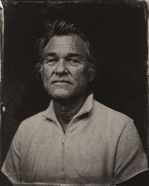 Kurt Russell poses for a tintype (wet collodion) portrait at The Collective and Gibson Lounge Powered by CEG, during the 2014 Sundance Film Festival in Park City, Utah. (Photo by Victoria Will/AP Photo/Invision)