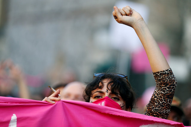 A woman demonstrates against the World Congress of Families, in Verona, Italy, March 30, 2019. (Photo by Yara Nardi/Reuters)