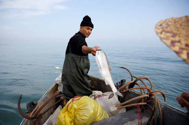 An Iranian fisherman fishes in the Caspian Sea in the city of Abbas-Abad, Mazandaran province, northern Iran, 24 March 2019. As Iran facing economic crises after US withdrawal from nuclear deal and re-imposing sanctions against the country, Iranian government still trying to keep the deal with European countries and working with European on a special channel for trade and business called INSTEX (Instrument in Support of Trade Exchanges) which is a mechanism, created to facilitate non-dollar trade with Iran, allowing European companies to trade with the Islamic Republic without being hit by the sanctions. (Photo by Abedin Taherkenareh/EPA/EFE)