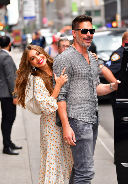 """(L-R) Sofia Vergara and Joe Manganiello leave """"The Late Show with Stephen Colbert"""" at the Ed Sullivan Theater on July 17, 2019 in New York City. (Photo by James Devaney/GC Images)"""