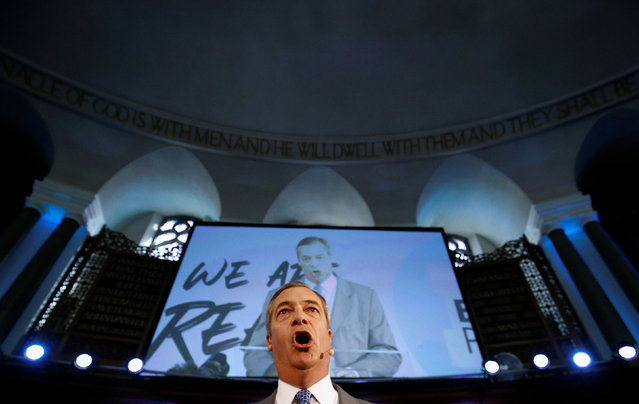 Brexit Party leader Nigel Farage speaks during a Brexit Party news conference in London, Britain on August 27, 2019. (Photo by Henry Nicholls/Reuters)