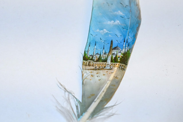 A picture taken on August 23, 2019 shows a mosque painted on a bird feather by Turkey's micro artist Hasan Kale in Istanbul. His canvas could be anything from match sticks, seeds to razors and crown corks. Turkey's micro artist, also known as Turkish Microangelo in reference to Italian Renaissance sculptor and painter Michelangelo, has been hitting his brush onto tiny everyday objects for more than two decades. (Photo by Ozan Kose/AFP Photo)
