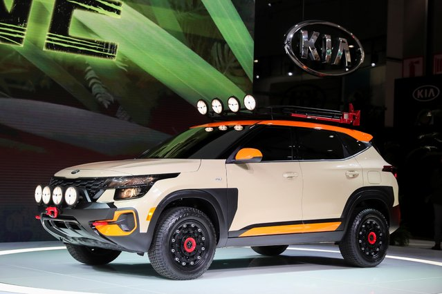 A Kia Seltos concept car is displayed at the LA Auto Show in Los Angeles, California, U.S., November 20, 2019. (Photo by Lucy Nicholson/Reuters)