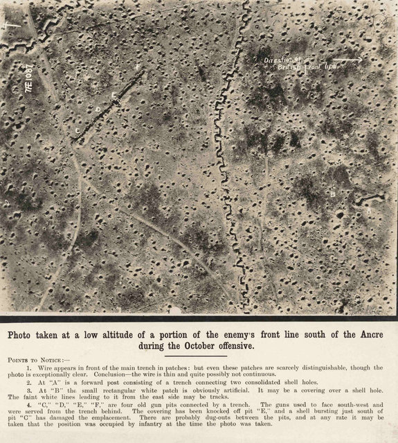 An undated handout picture shows a British reconnaissance photograph showing an aerial view of the Western Front. This picture is part of a previously unpublished set of World War One (WWI) images from a private collection. The pictures offer an unusual view of varied and contrasting aspects of the conflict, from high tech artillery to mobile pigeon lofts, and from officers partying in their headquarters to the grim reality of life and death in the trenches. The year 2014 marks the centenary of the start of the war. (Photo by Reuters/Archive of Modern Conflict London)