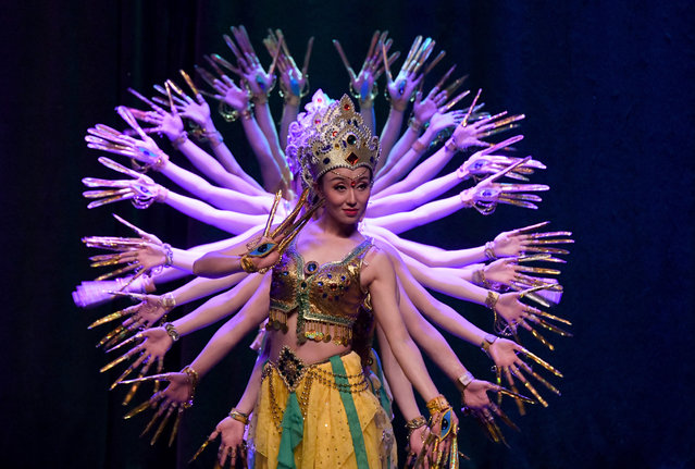 """A Chinese dance and music show celebrating the upcoming Chinese new year gained grand applause from the audience in Istanbul, Turkey on Wednesday, January 15, 2020. The performance, named """"Magical Silk Road and Magnificent Longyuan"""", were performed by China's Gansu Provincial Opera and Gansu Province Acrobatic Troupe at a cultural center in the Atasehir district. The program featured a blend of traditional Chinese dance and music, introducing the country's both ancient cultural heritage and modern culture in 16 different sections. (Photo by Xu Suhui/Xinhua News Agency/Barcroft Media)"""