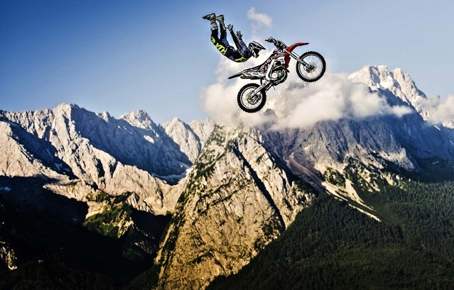 Brody Wilson of the United States performs in front of the Zugspitze, the highest mountain in Germany, prior to the upcoming fourth stage of the Red Bull X-Fighters World Tour, in Garmisch, Germany, on Jule 16, 2014. (Photo by Sebastian Marko/Red Bull via Getty Images)